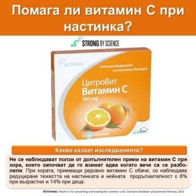 Помага ли витамин С при настинка?