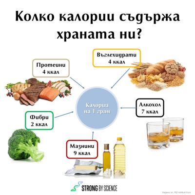 Колко калории съдържа храната ни?