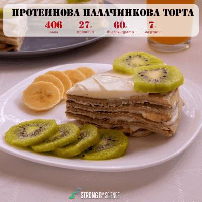 Протеинова палачинкова торта