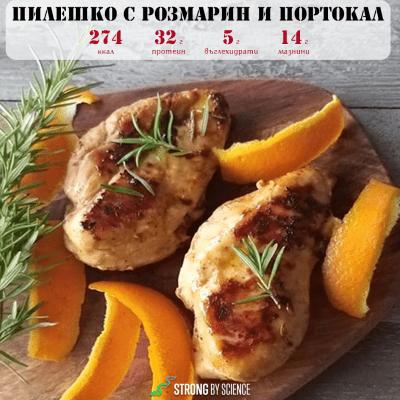 Пилешко с розмарин и портокал